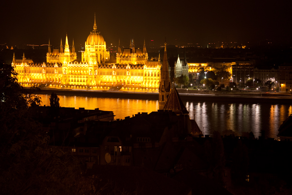 A night view of the Parliament building Budapest