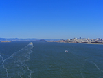 The view to Alcatraz & SF from the centre of the bridge